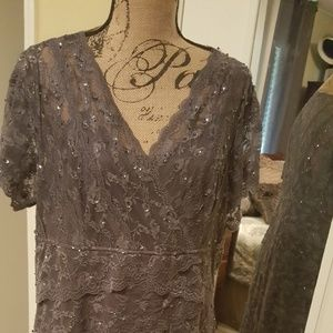 Beautiful gray lace and sequin dress